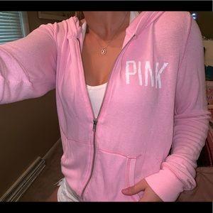 Victoria's Secret PINK Full-Zip Light Pink Hoodie